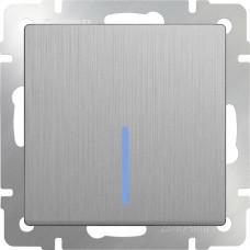 Выключатель Cеребряный рифленый WL09-SW-1G-2W-LED